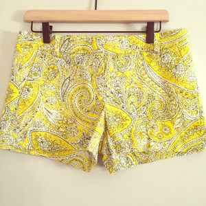 "J. Crew yellow antique paisley shorts 3"" inseam"